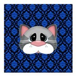 Gray Cat on Blue Square Car Magnet 3