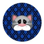 Gray Cat on Blue Round Car Magnet