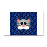 Gray Cat on Blue Rectangle Car Magnet