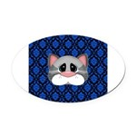 Gray Cat on Blue Oval Car Magnet