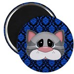 Gray Cat on Blue Magnets
