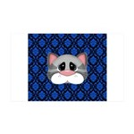 Gray Cat on Blue Wall Decal