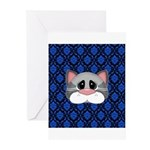 Gray Cat on Blue Greeting Cards