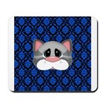 Gray Cat on Blue Mousepad
