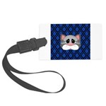 Gray Cat on Blue Luggage Tag