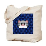 Gray Cat on Blue Tote Bag