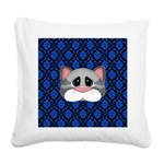 Gray Cat on Blue Square Canvas Pillow