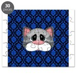Gray Cat on Blue Puzzle