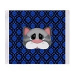 Gray Cat on Blue Throw Blanket