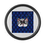 Gray Cat on Blue Large Wall Clock