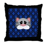 Gray Cat on Blue Throw Pillow