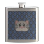 Gray Cat on Blue Flask