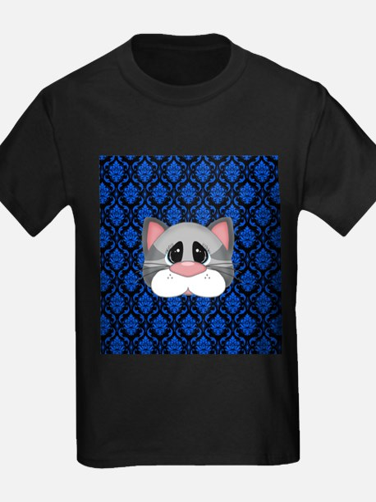 Gray Cat on Blue T-Shirt