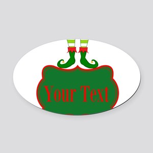 Personalizable Christmas Elf Feet Oval Car Magnet