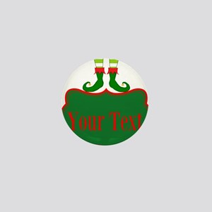 Personalizable Christmas Elf Feet Mini Button