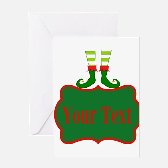 Personalizable Christmas Elf Feet Greeting Cards