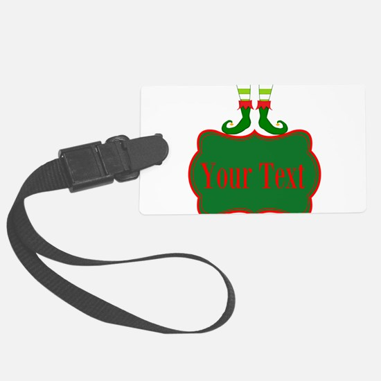 Personalizable Christmas Elf Feet Luggage Tag