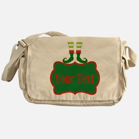 Personalizable Christmas Elf Feet Messenger Bag