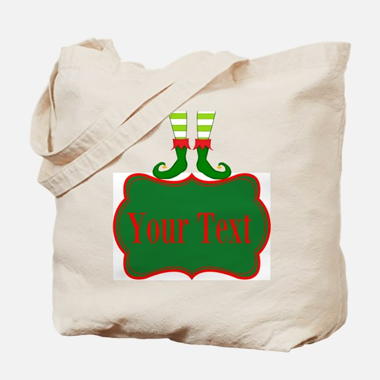 Personalizable Christmas Elf Feet Tote Bag