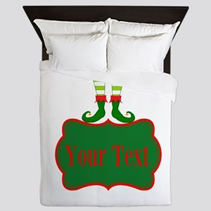 Personalizable Christmas Elf Feet Queen Duvet