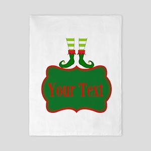 Personalizable Christmas Elf Feet Twin Duvet