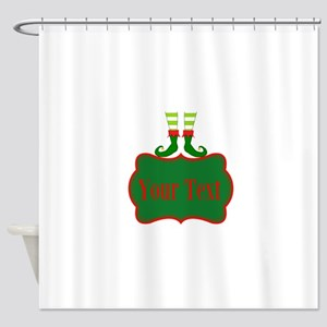 Personalizable Christmas Elf Feet Shower Curtain