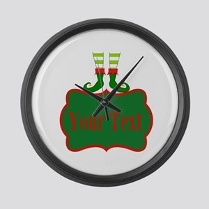 Personalizable Christmas Elf Feet Large Wall Clock