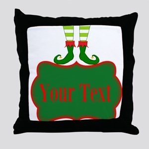 Personalizable Christmas Elf Feet Throw Pillow