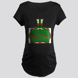 Personalizable Christmas Elf Feet Maternity T-Shir