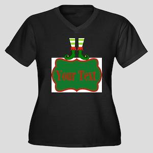 Personalizable Christmas Elf Feet Plus Size T-Shir