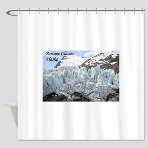 Portage Glacier, Alaska (with capti Shower Curtain