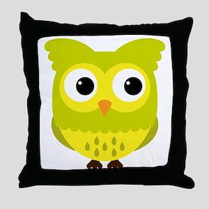 Yellow Green Owl Throw Pillow