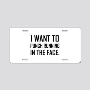 Punch Running In The Face Aluminum License Plate