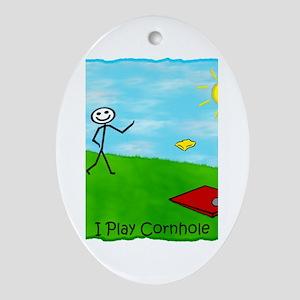 Stick Person I Play Cornhole Oval Ornament