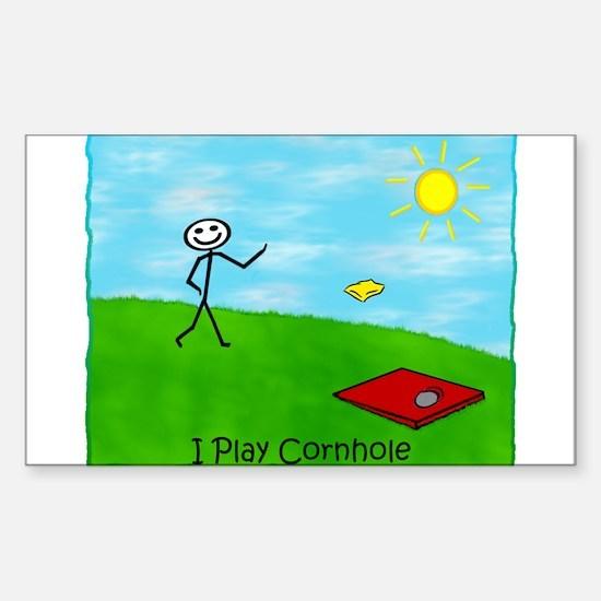 Stick Person I Play Cornhole Rectangle Decal