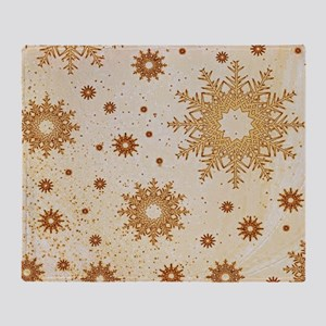 Snowflakes golden Throw Blanket