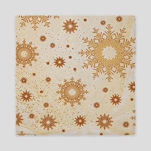 Snowflakes golden Queen Duvet