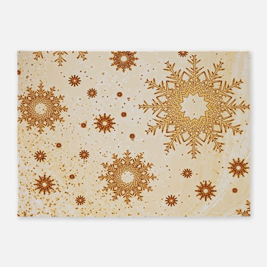 Snowflakes golden 5'x7'Area Rug