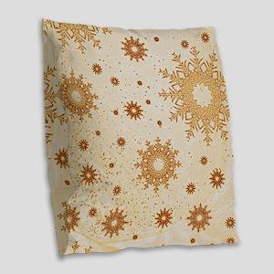 Snowflakes golden Burlap Throw Pillow