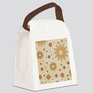Snowflakes golden Canvas Lunch Bag