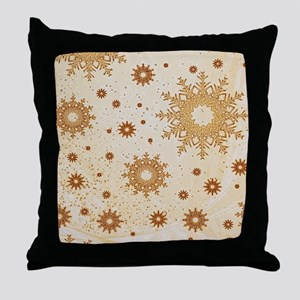 Snowflakes golden Throw Pillow