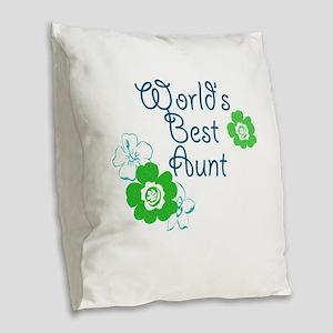 Worlds Best Aunt Burlap Throw Pillow