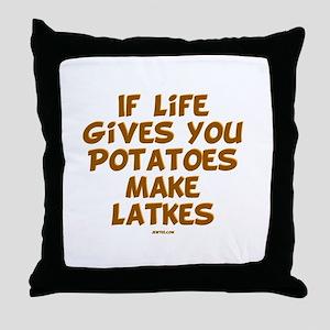 Make Latkes Chanukah Throw Pillow