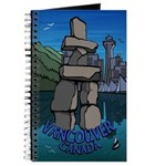 Vancouver Souvenir Journal Notebook B & W Inukshuk