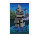 Vancouver Souvenir Postcards 8 Pack B & W Inukshuk