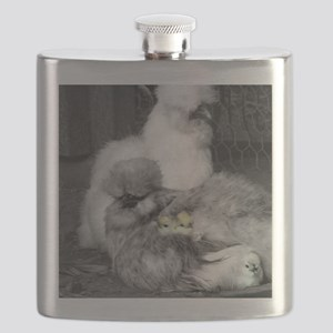 Black and White Silkie Chickens with yellow Flask