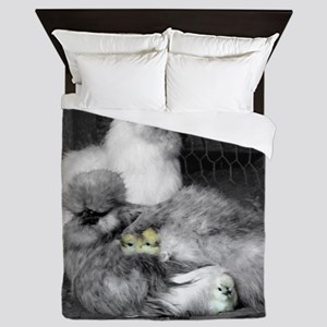 Black and White Silkie Chickens with y Queen Duvet