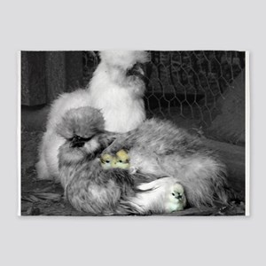 Black and White Silkie Chickens wit 5'x7'Area Rug