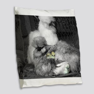 Black and White Silkie Chicken Burlap Throw Pillow