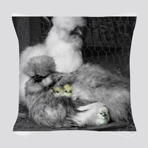 Black and White Silkie Chicken Woven Throw Pillow